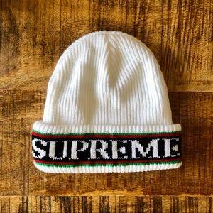 Supreme Cuff Logo Beanie white